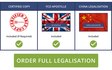 Full Chinese Legalisation Service